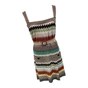 Missoni Belted Chevron Print Knit Tank DressSz 46